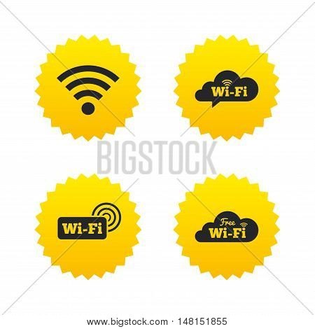 Free Wifi Wireless Network cloud speech bubble icons. Wi-fi zone sign symbols. Yellow stars labels with flat icons. Vector