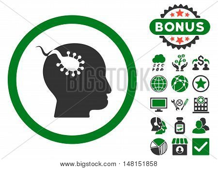 Brain Parasite icon with bonus design elements. Vector illustration style is flat iconic bicolor symbols green and gray colors white background.