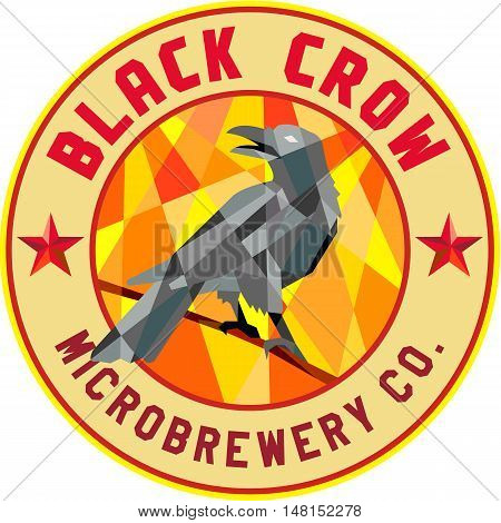 Low polygon style illustration of a crow bird perched on a piece of wood looking back set inside circle with the words Black Crow Microbrewery Co.