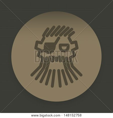 Logo Abstract Pirate Face On The Background Of A Brown Circle