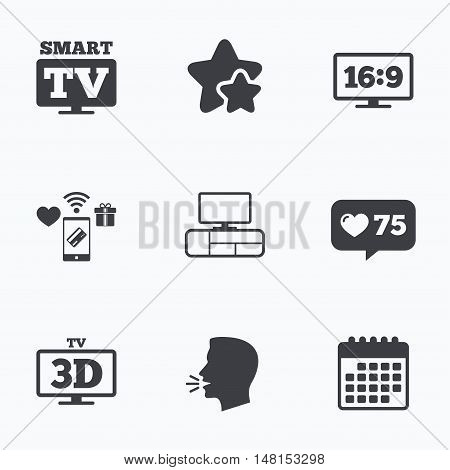 Smart TV mode icon. Aspect ratio 16:9 widescreen symbol. 3D Television and TV table signs. Flat talking head, calendar icons. Stars, like counter icons. Vector