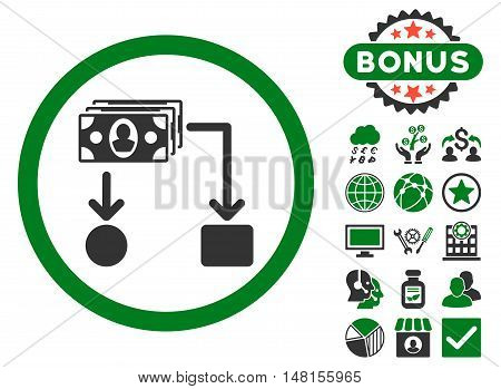 Cashflow icon with bonus symbols. Vector illustration style is flat iconic bicolor symbols green and gray colors white background.