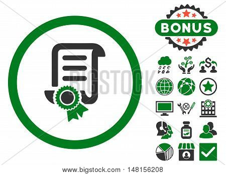 Certified Scroll Document icon with bonus images. Vector illustration style is flat iconic bicolor symbols green and gray colors white background.