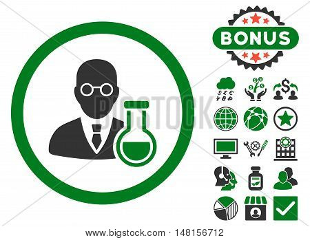 Chemist icon with bonus pictogram. Vector illustration style is flat iconic bicolor symbols, green and gray colors, white background.