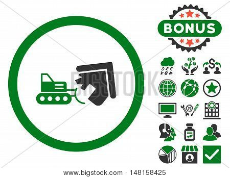 Demolition icon with bonus pictogram. Vector illustration style is flat iconic bicolor symbols, green and gray colors, white background.