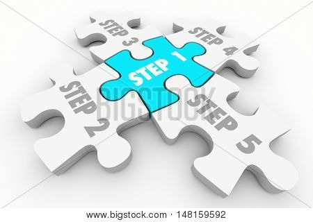 Step 1 to 5 Puzzle Pieces System Procedure 3d Illustration