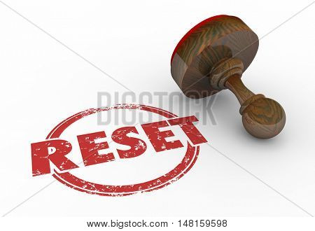 Reset Reposition Change Disrupt Stamp 3d Illustration