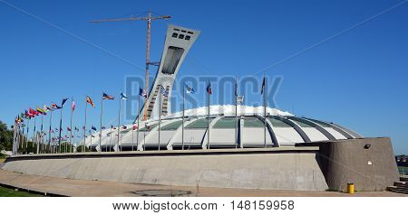 MONTREAL QUEBEC CANADA 09 14 2016. The Montreal Olympic Stadium and tower. It's the tallest inclined tower in the world.Tour Olympique stands 175 meters tall and at a 45-degree angle