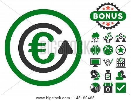 Euro Chargeback icon with bonus elements. Vector illustration style is flat iconic bicolor symbols, green and gray colors, white background.