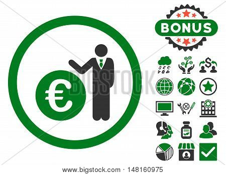 Euro Economist icon with bonus symbols. Vector illustration style is flat iconic bicolor symbols, green and gray colors, white background.