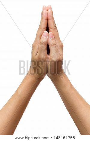 Hand of male or female sign thai greeting thank welcome isolated on white background clipping path included.