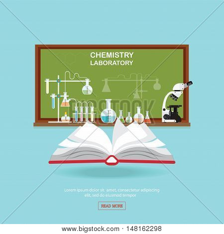 Chemical laboratory Science lesson with open book and microscope technologyScience education chemistry experiment laboratory conceptual flat design vector illustration.