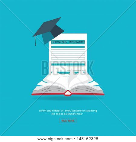 Ensure protection insurance risk education flat design education conceptual vector illustration.