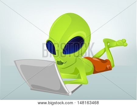 Cartoon Character Funny Alien Isolated on Grey Gradient Background. Coder.