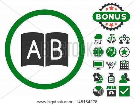 Handbook icon with bonus symbols. Vector illustration style is flat iconic bicolor symbols, green and gray colors, white background.