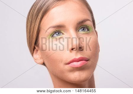Titled Head Face Beauty Young Woman Close Up