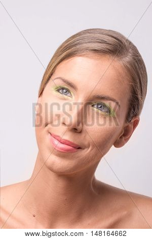 Titled Head Face Beauty Young Woman