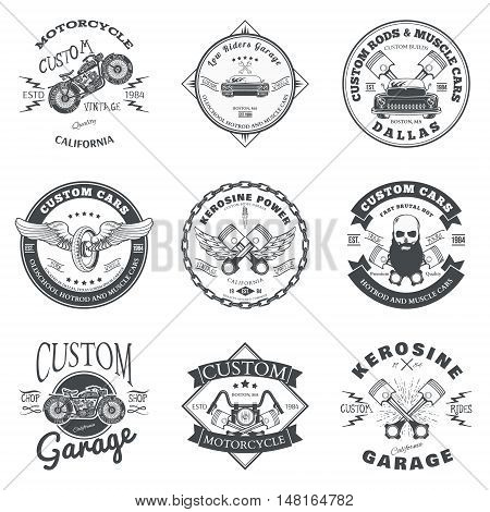 Set of Custom Car and Bike Garage Label and Badge Design Vector illustration