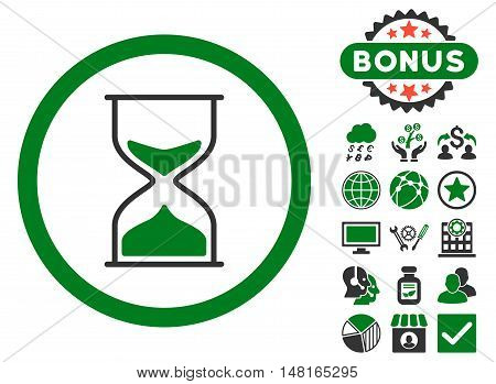 Hourglass icon with bonus pictures. Vector illustration style is flat iconic bicolor symbols, green and gray colors, white background.