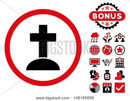 Grave icon with bonus images. Vector illustration style is flat iconic bicolor symbols, intensive red and black colors, white background.