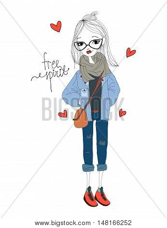 Free Spirit Fashion Illustration with a Fashion Girl Wearing Stylish Clothes. Colorful Free Spirit Typography with Hearts. Fashionable New Yorker in the City