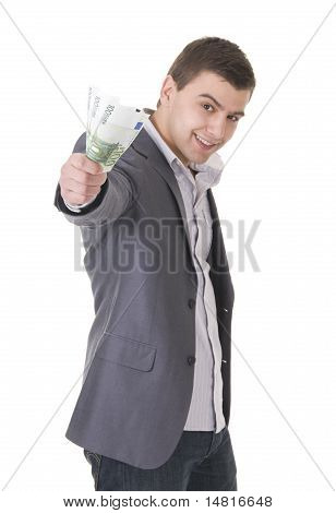 Young businessman offering money isolated ob white background. Focus on the maney poster