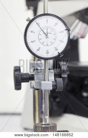 close up vernier height gauge in a laboratory