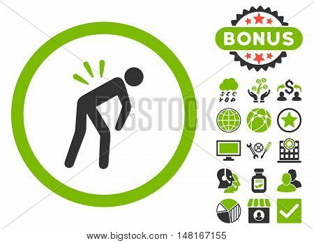 Backache icon with bonus design elements. Vector illustration style is flat iconic bicolor symbols, eco green and gray colors, white background.