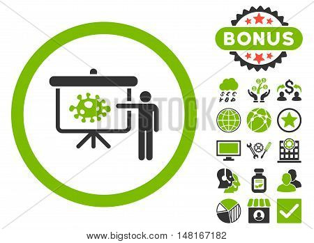 Bacteria Lecture icon with bonus design elements. Vector illustration style is flat iconic bicolor symbols, eco green and gray colors, white background.