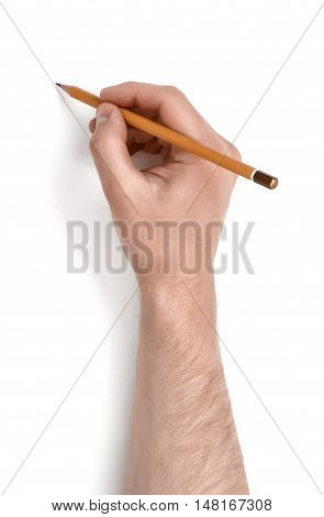 Close up view of a man's hand holding a pencil isolated on white background. Drawing and sketching. Draftmanship. Art and education.