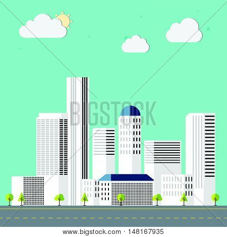 Town Flat Design Downtown Landscape Illustration