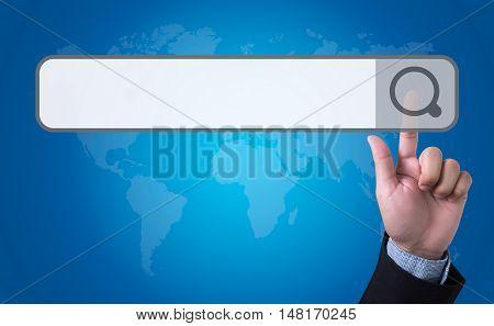 Man Pushing (touching) Virtual Web Browser Address Bar Or Search