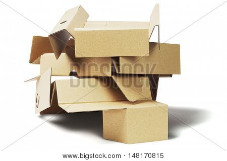 Stack of Packaging Cardboard For Recycling on White Background