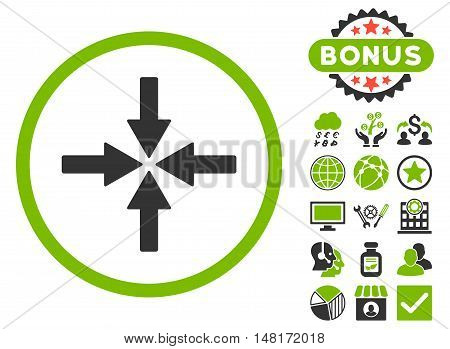 Collide Arrows icon with bonus symbols. Vector illustration style is flat iconic bicolor symbols, eco green and gray colors, white background.