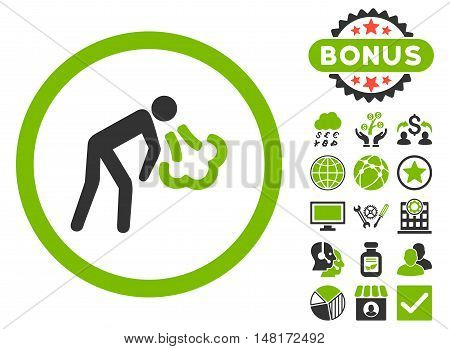 Cough icon with bonus elements. Vector illustration style is flat iconic bicolor symbols, eco green and gray colors, white background.