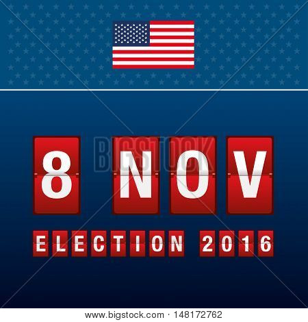Presidential Election Day. 8 Th November Of Mechanical Scoreboard.
