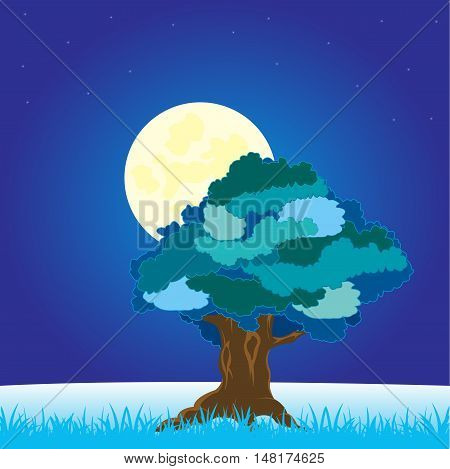 The Winter landscape with solitary by tree on glade.Vector illustration