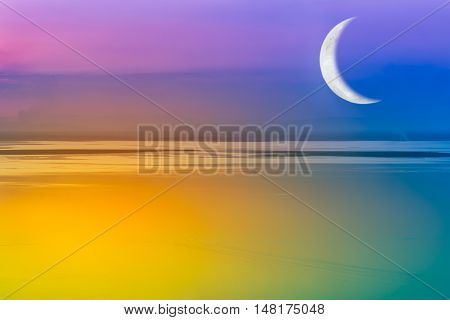 Moon Crescent And Colorful Sky. Outdoors.