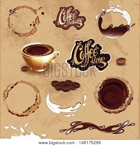 Set of coffee design elements. Coffee, milk and chocolate. Splashes, stains and cup.    Coffee time and coffee house logos. Vector illustration.