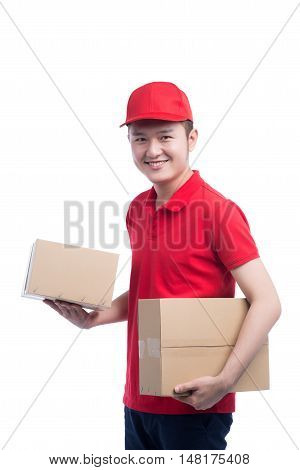 Portrait of delivery man service happily delivering package to costumer