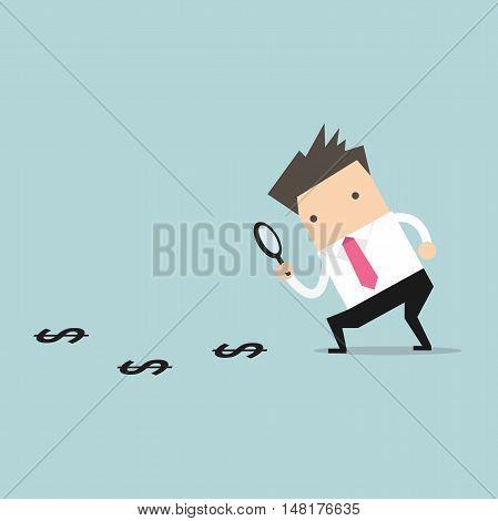 Businessman finding money on the floor. vector illustration