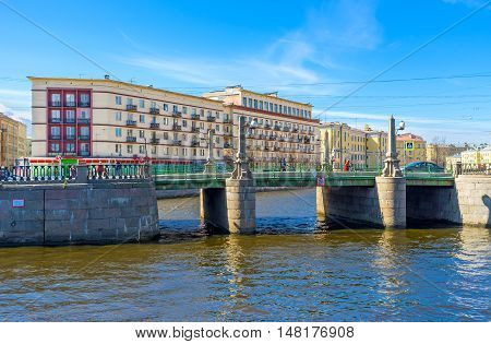 ST PETERSBURG RUSSIA - APRIL 25 2015: The Krukov Bridge located on the intersection of Krukov and Griboedov Canals on April 25 in St Petersburg.