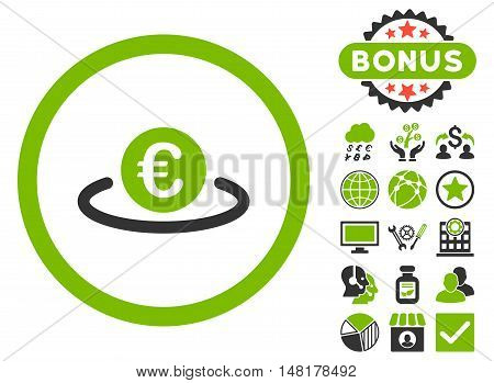 Euro Placement icon with bonus symbols. Vector illustration style is flat iconic bicolor symbols, eco green and gray colors, white background.