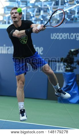 NEW YORK - AUGUST 28, 2016: Grand Slam Champion Andy Murray of Great Britain practices for US Open 2016 at Billie Jean King National Tennis Center