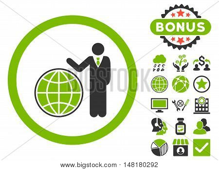 Global Manager icon with bonus pictogram. Vector illustration style is flat iconic bicolor symbols, eco green and gray colors, white background.