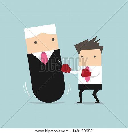 Businessman punching boss tumbler doll. vector illustration