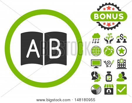 Handbook icon with bonus pictogram. Vector illustration style is flat iconic bicolor symbols, eco green and gray colors, white background.