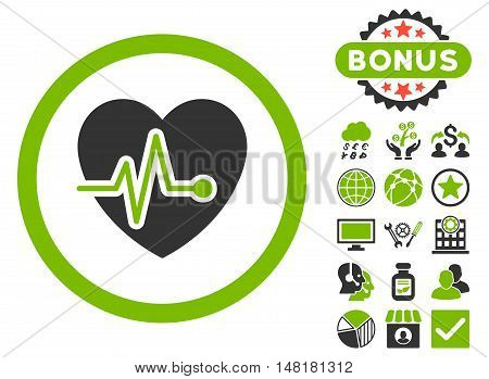 Heart Pulse icon with bonus images. Vector illustration style is flat iconic bicolor symbols, eco green and gray colors, white background.