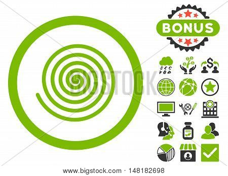 Hypnosis icon with bonus pictogram. Vector illustration style is flat iconic bicolor symbols, eco green and gray colors, white background.