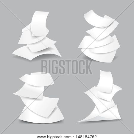 Falling paper sheets vector illustration. Set of paper blank and empty paper page